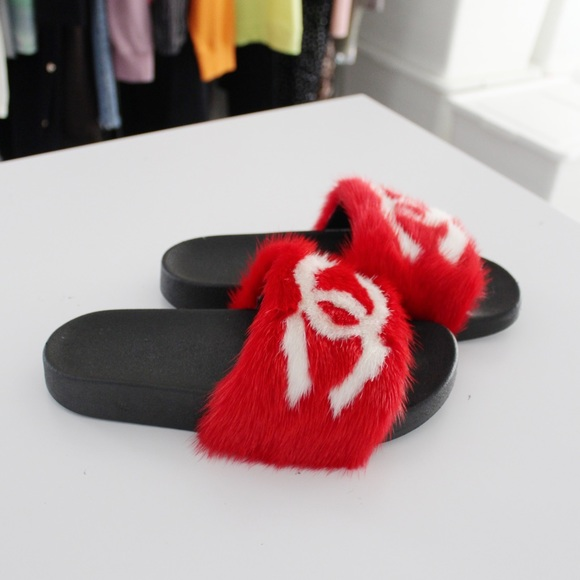 Inauthentic Chanel Fur Slides